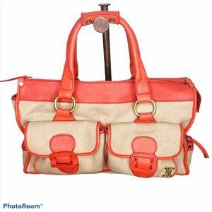 Celine Canvas Textile Coral Pink Duffle Tote Bag